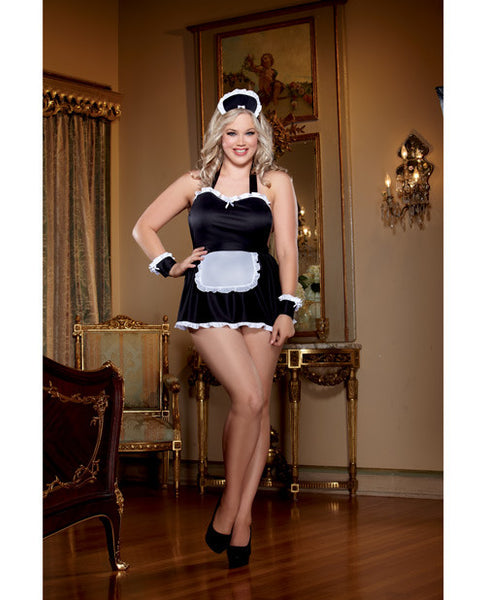 4 Pc Maid Me Dirty Apron, Maid Cap, French Cuffs, Panty W-dirty Screen Print Black-white Qn