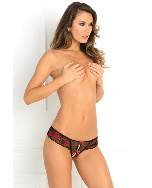 Rene Rofe Crotchless Lace Thong W-bows Red S-m
