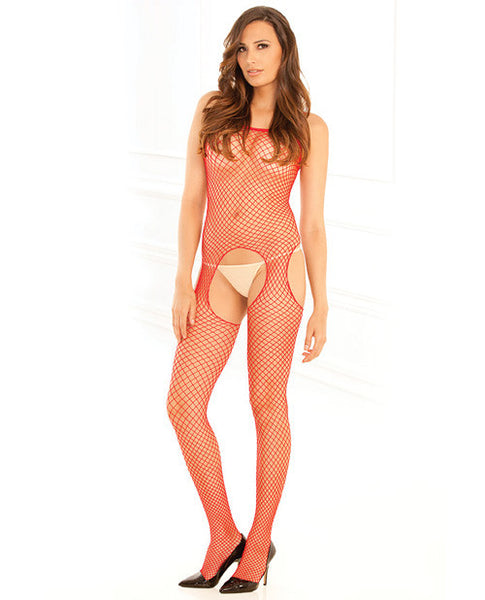 Rene Rofe Industrial Net Suspender Bodystocking Red O-s
