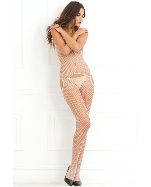 Rene Rofe Industrial Net Suspender Bodystocking White O-s