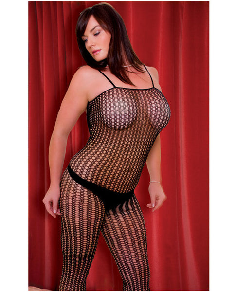 Rene Rofe Quarter Crochet Net Bodystocking Black Qn
