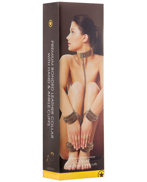 Shots Ouch Leather Collar W-hand & Leg Cuffs - Brown