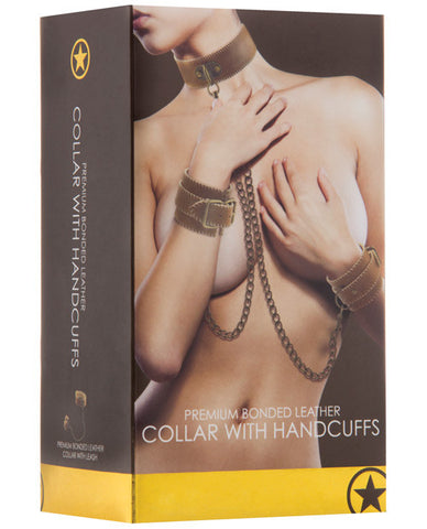 Shots Ouch Collar W-handcuffs - Brown