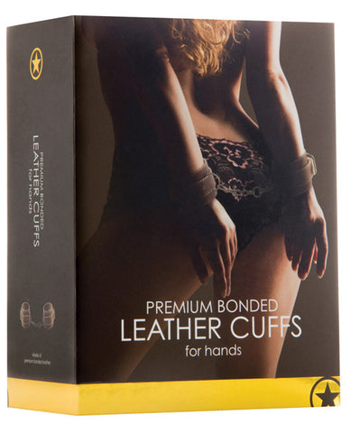 Shots Ouch Leather Hand Cuffs - Brown