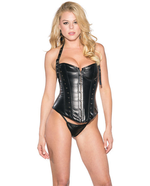 Pleather Corset W-buckle Halter Strap & Tie Up Back Black Lg