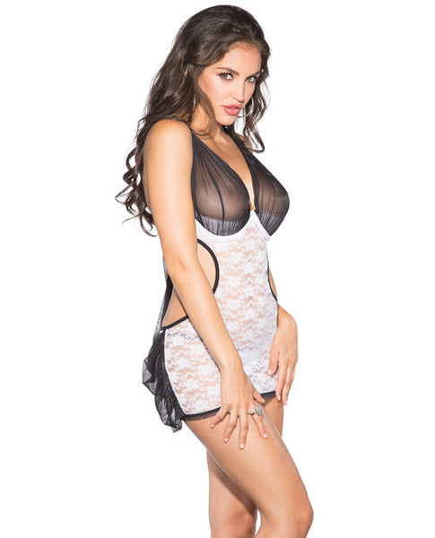 Lace & Mesh Babydoll W-underwire, Adjustable Straps & G-strg Black-white Xl