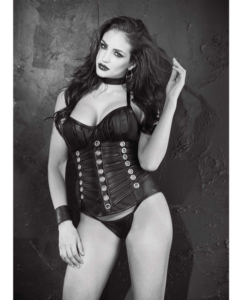 Faux Leather Pdded Push Up Corset W-undr Wred Cps, Grommets, Lace Up Back & G-string Black 34