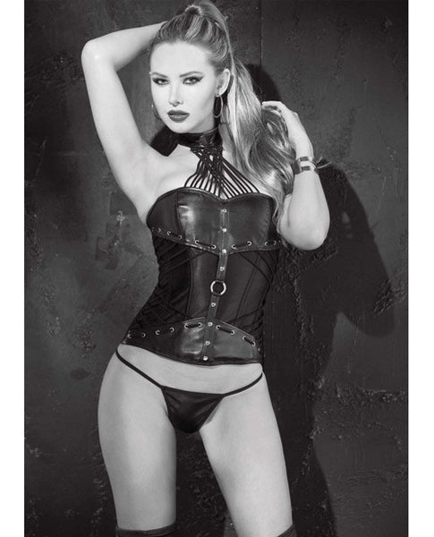Faux Leather Strappy Neck Corset W-side Zipper & Lace Up Back & G-string Black 38