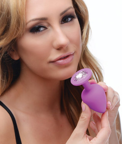 Purple Pleasure 3 Piece Silicone Anal Plugs with Gems Model