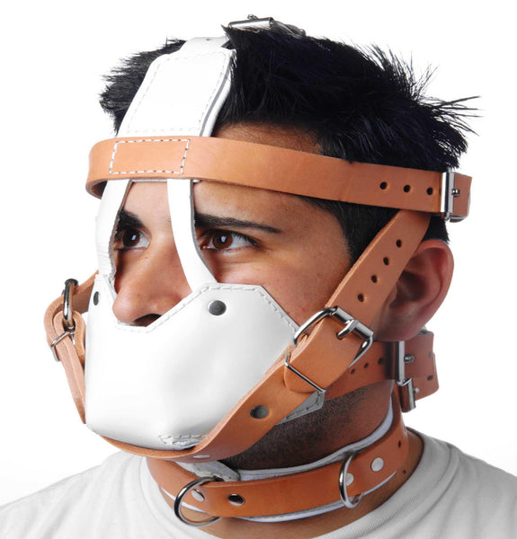 White and Tan Hospital Style Leather Muzzle