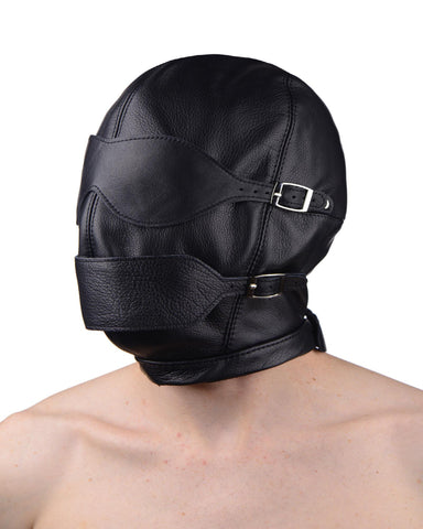 Premium Leather Hood with Blindfold and Breathable Ball Gag