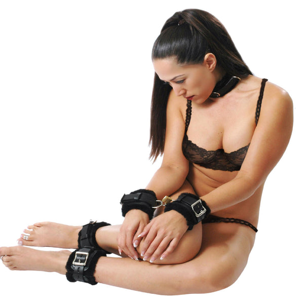 Fur Lined Leather Bondage Essentials Kit
