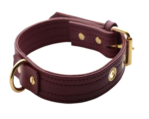 Strict Leather Luxury Burgundy Locking Collar