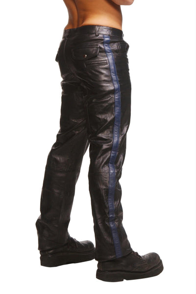 Police Leather Pants with Blue Stripe- 32 Inch Waist