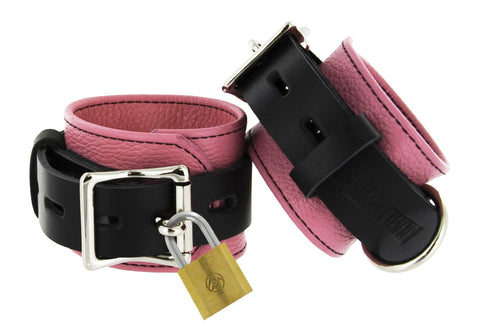 Strict Leather Pink and Black Deluxe Locking Wrist Cuffs