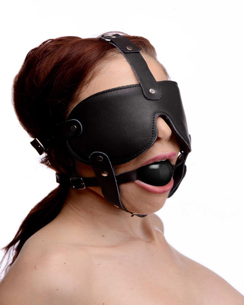 Gag and Blindfold Head Harness- Black