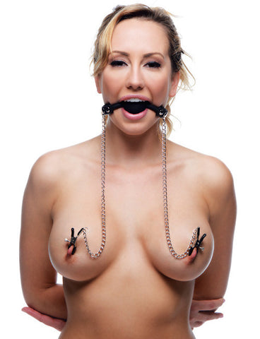Silicone Ball Gag with Nipple Clamps Model