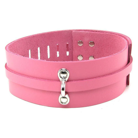 Bondage Gear - Stockroom Bondage Basics Leather Collar In Pink