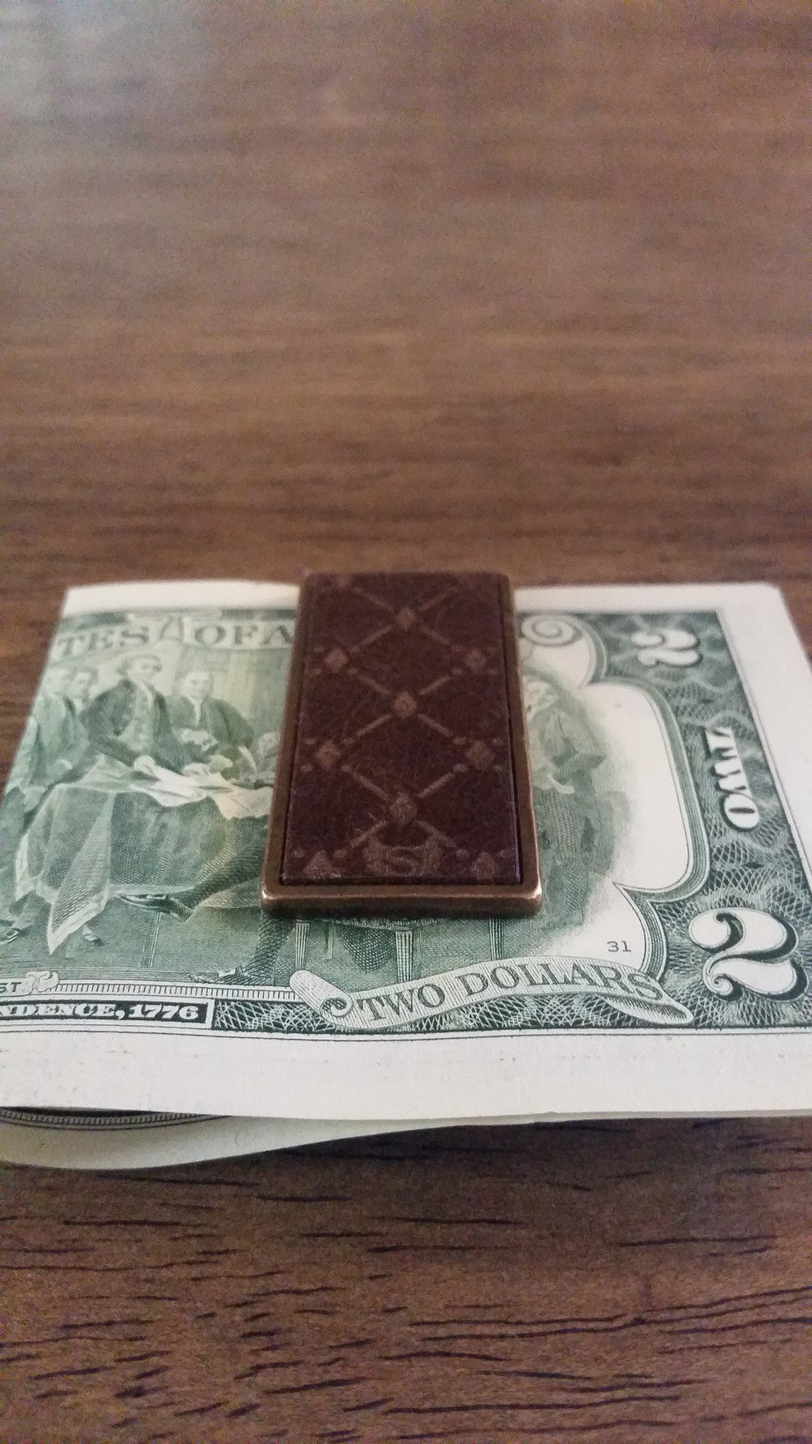 Money Clip bronze & leather