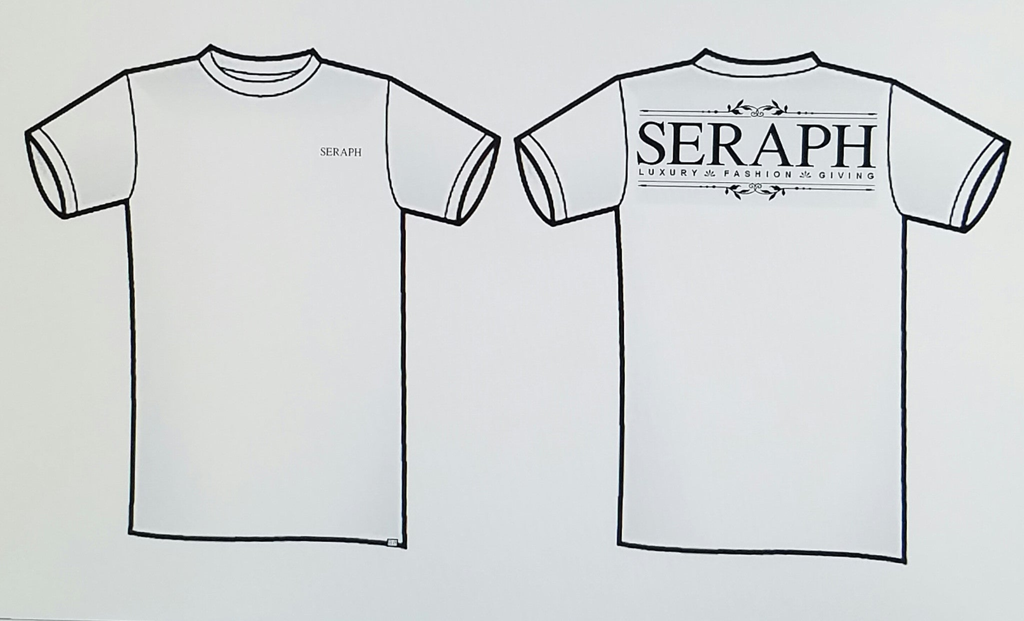 Short Sleeve T-Shirt, White with black print