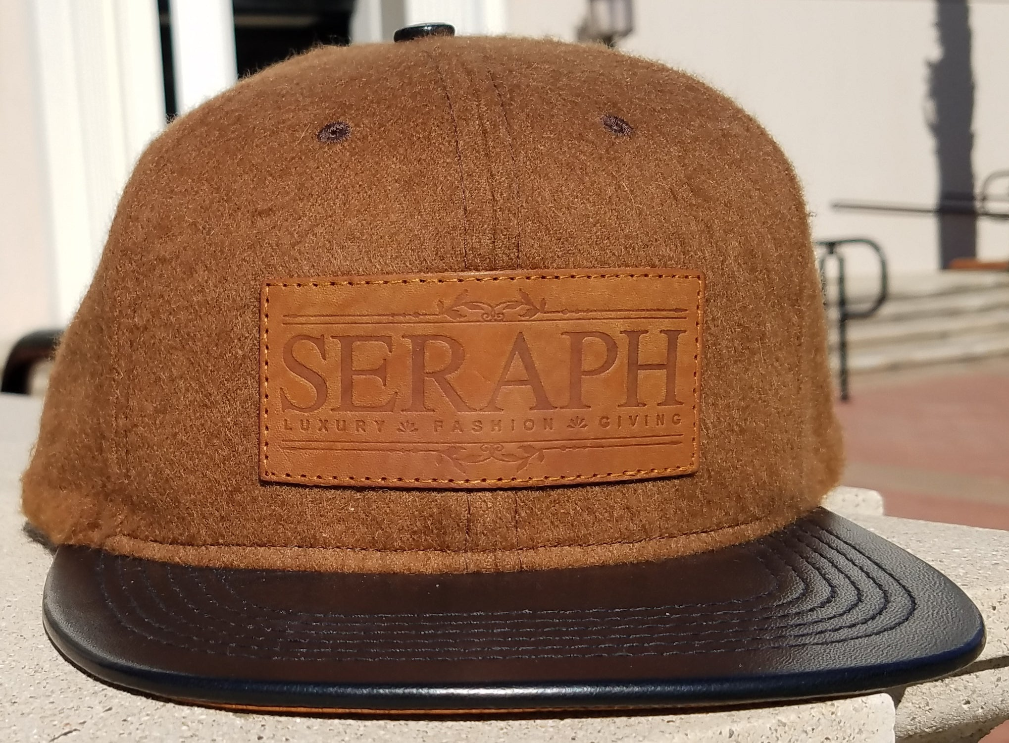 Brown Label Hat, Baby Alpaca Wool & Italian leather
