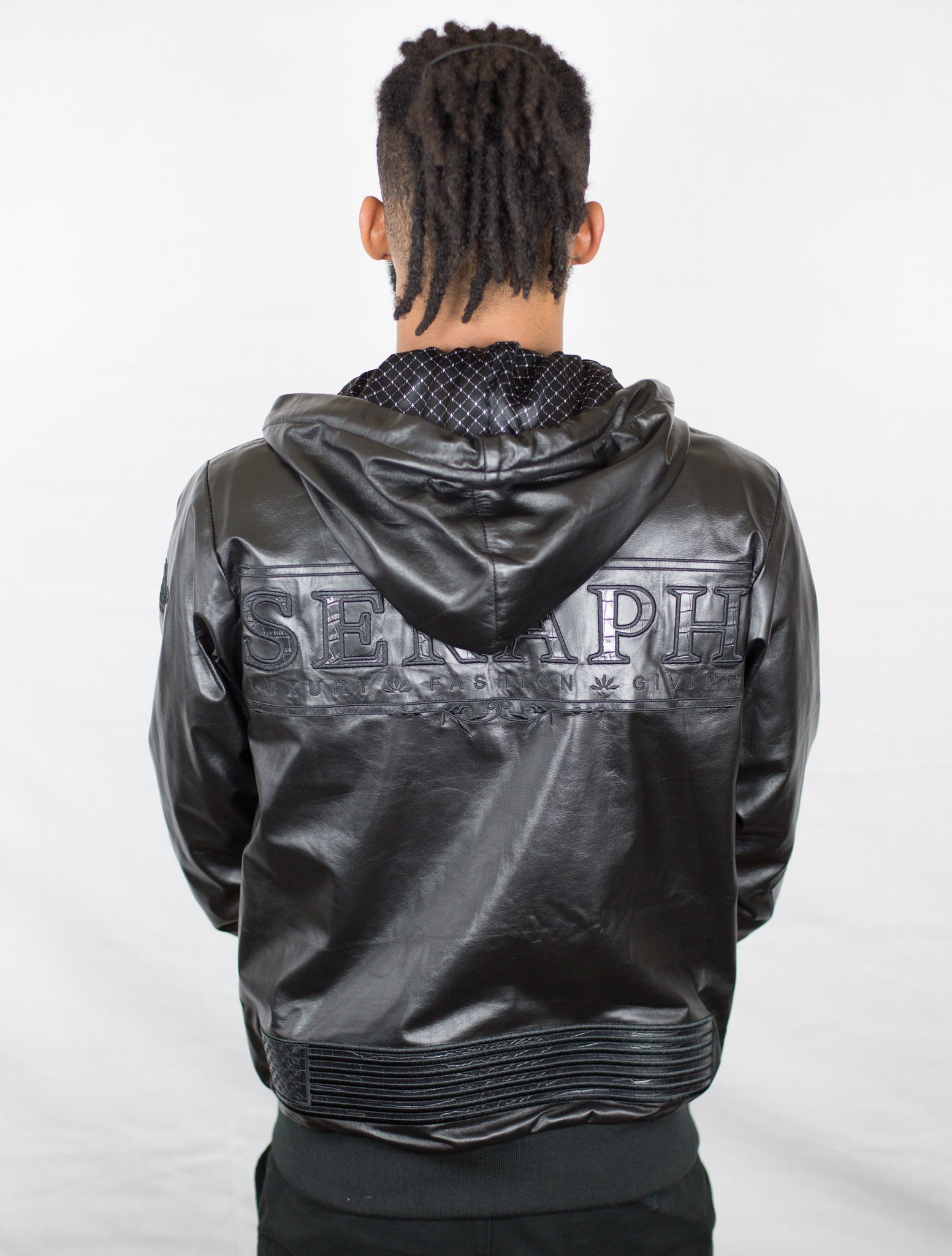Black LEATHER ZIP UP HOODED JACKET