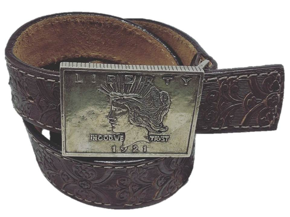 Leather Belt - Peace Silver Dollar - Maduro