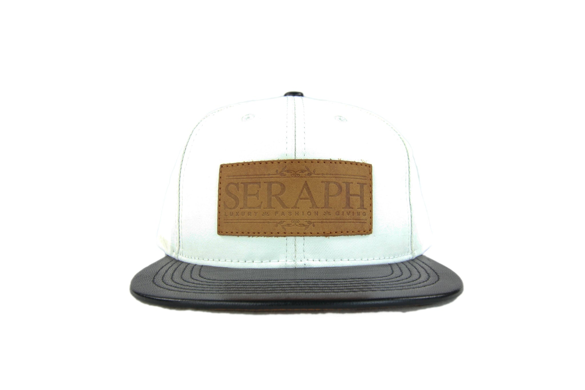 Brown Label Hat, White Water Resistant & Italian leather