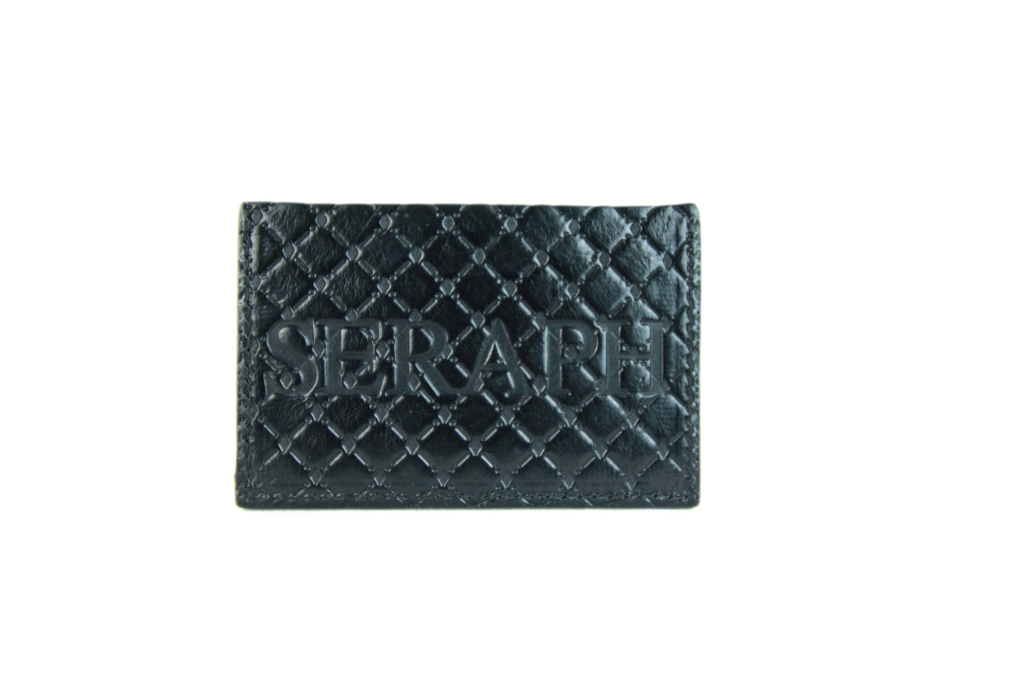 Wallet, Pattern Emboss, Black Italian Leather