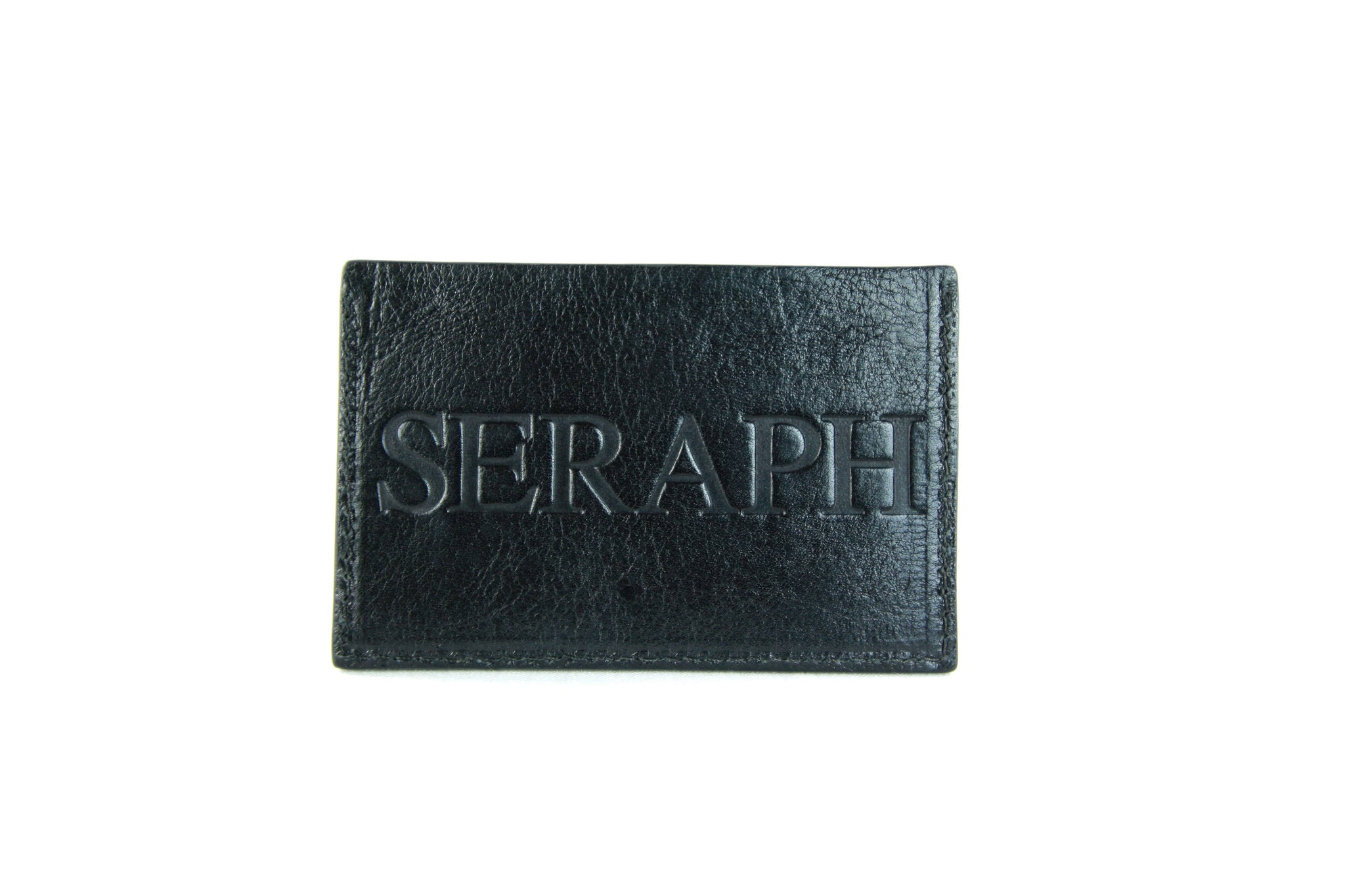 Wallet, Emblem Emboss, Black Italian leather