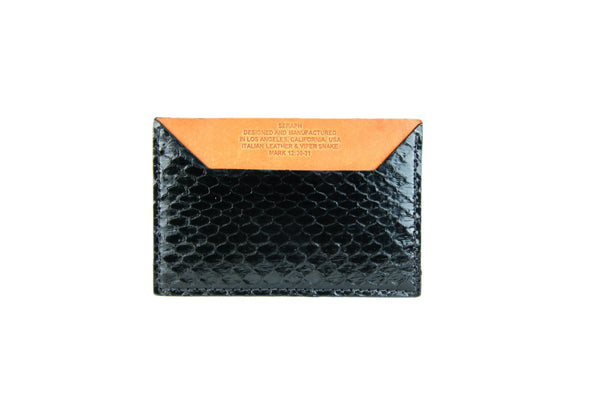 Wallet, Black Viper Snake, Italian leather