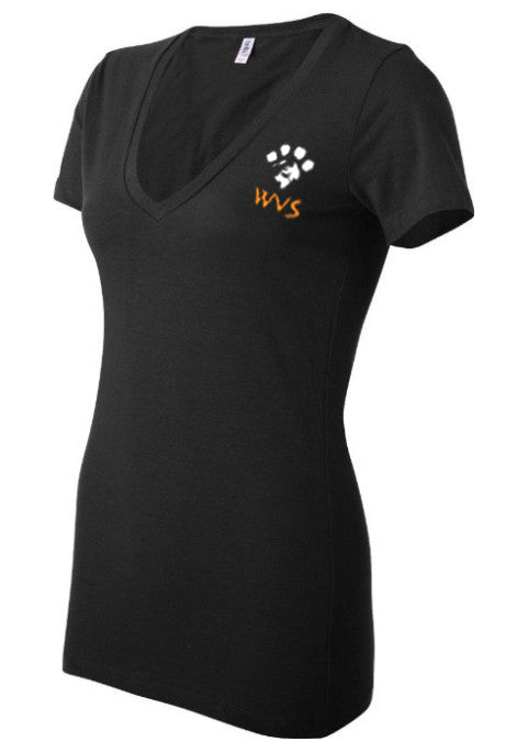 Ladies WVS Low v-neck T - Shirt in black
