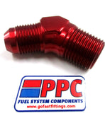NPT to AN Male Flare  45 Degree Adapter Fittings Show Polished & Standard Anodized - Performance Plumbing Components