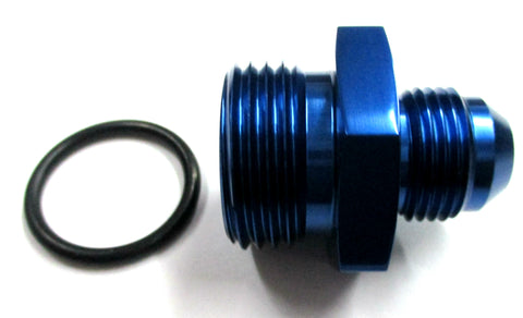 Blue Show Polished  O-Ring Boss ORB  to AN Male Flare Straight  Aluminum Fittings