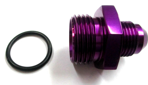 Purple Show Polished  O-Ring Boss ORB  to AN Male Flare Straight  Aluminum Fittings