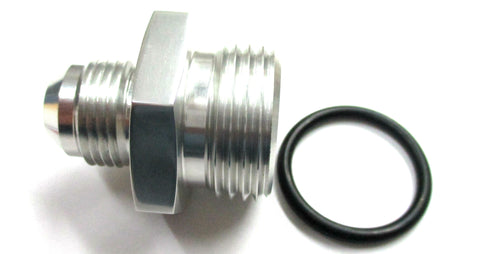 SimChrome Polished Silver O-Ring Boss ORB  to AN Male Flare Straight  Aluminum Fitting