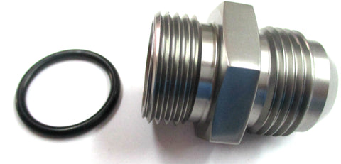Titanium Gray Show Polished  O-Ring Boss ORB  to AN Male Flare Straight  Aluminum Fitting