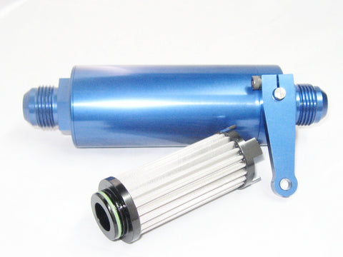 Billet Fuel Filter with Stainlees Steel  Element and Shut Off Valve - Performance Plumbing Components