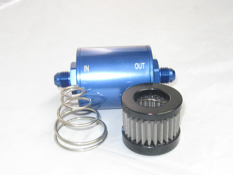 Compact Billet Aluminum Fuel Filter Stainless cleanable element - Performance Plumbing Components