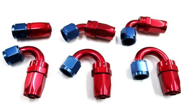 Show Polished Blue/Red Swivel Hose Ends - Performance Plumbing Components