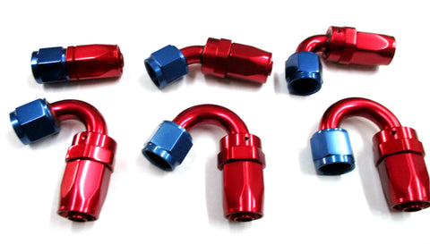 Blue and Red  Re-Usable Swivel Hose Ends