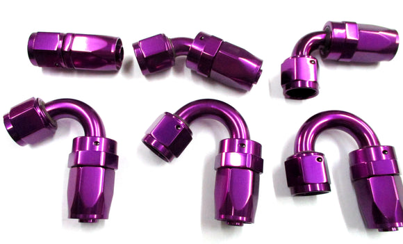 Show Polished Purple  Swivel Hose Ends - Performance Plumbing Components
