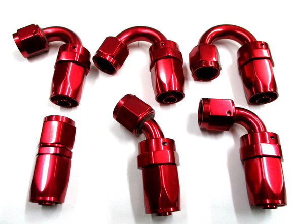 Show Polished Red  Swivel Hose Ends