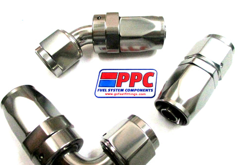 Show Polished Titanium Anodized Aluminum Swivel Hose Ends - Performance Plumbing Components