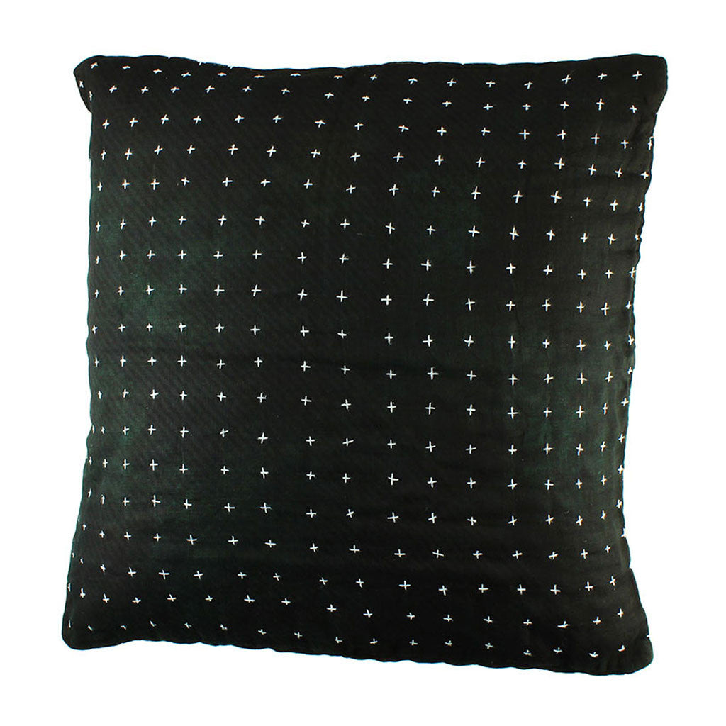 Black Cross-Stitch Pillow Cover