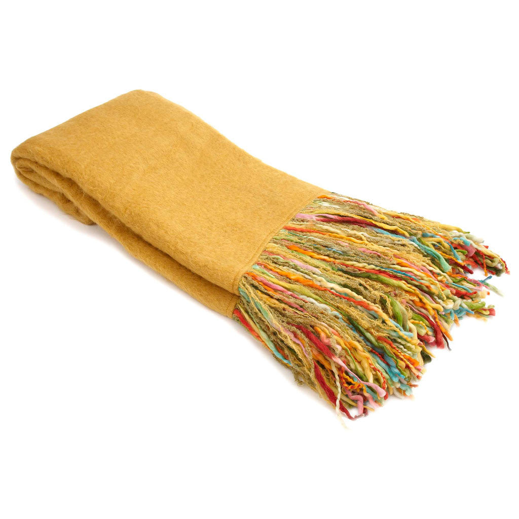 Gold Mohair Throw with Multi-Color Fringe