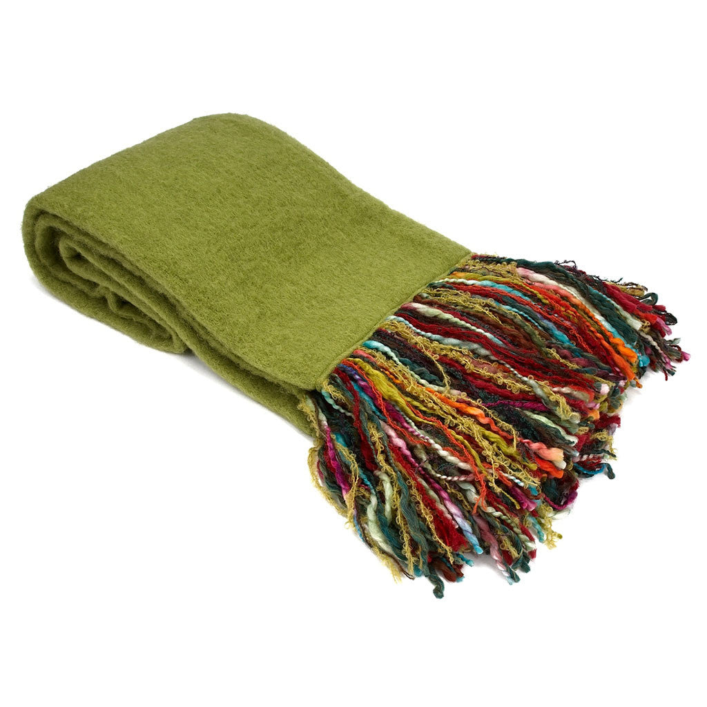 Green Mohair Throw with Multi-Color Fringe