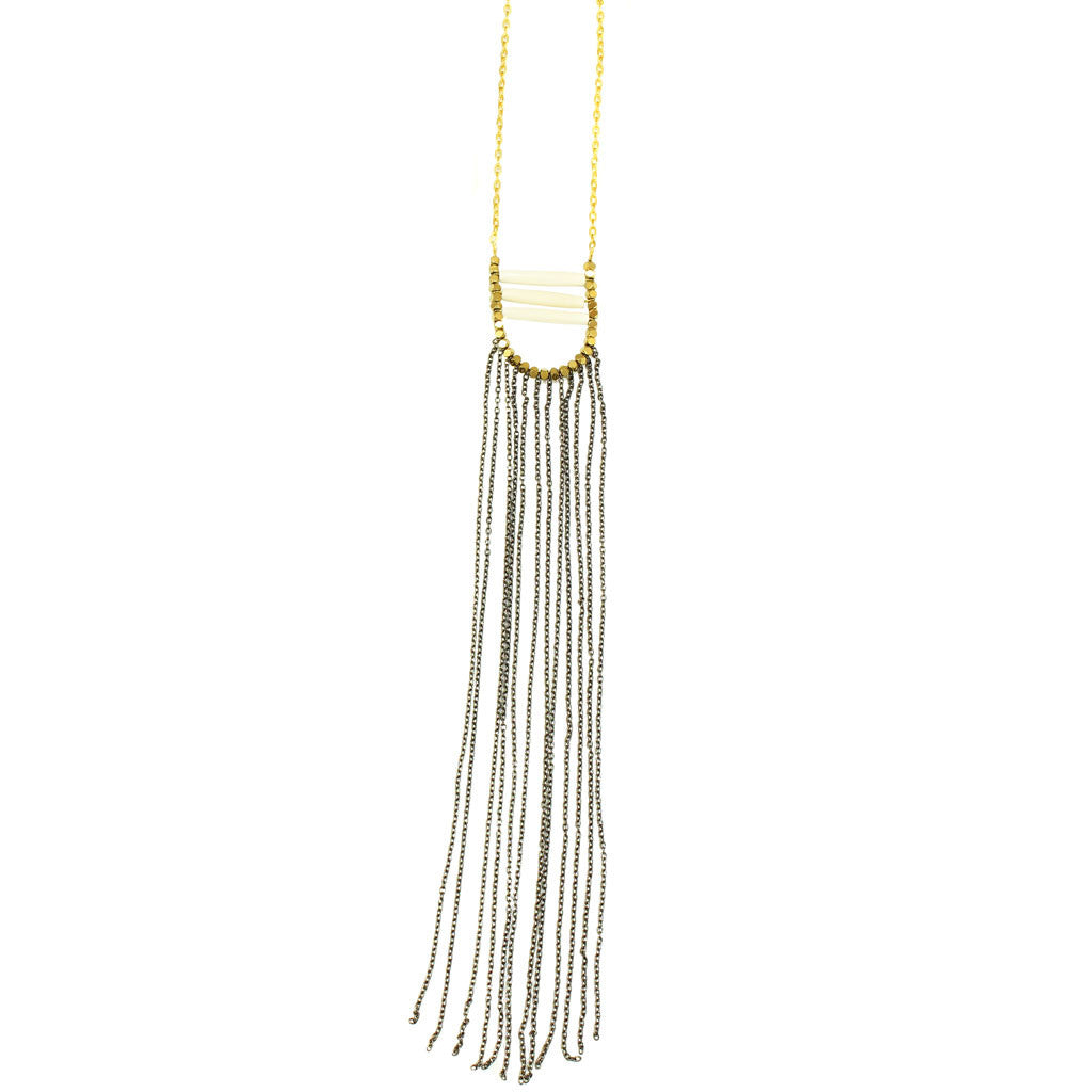 Brass Chainlink Fringe Necklace
