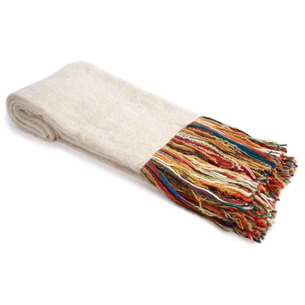 Linen Mohair Throw with Multi-Color Fringe