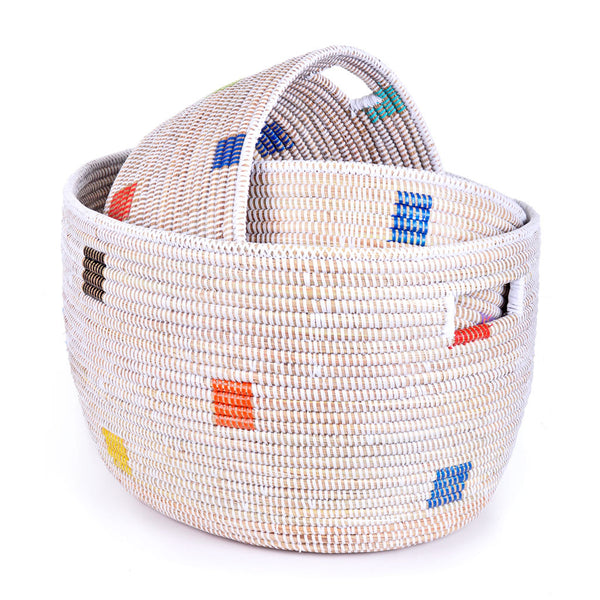 3-Piece Oval Prismatic Pixels Basket Set